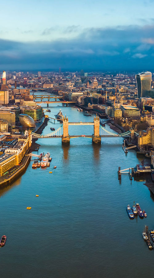 Aerial view London Thames